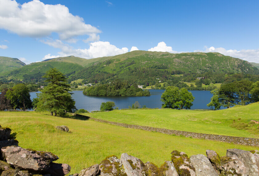 Landscape photo of Grasmere in the Lake District.