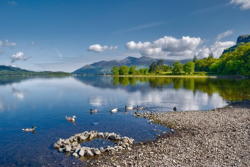 Scenic view of lake district national park.